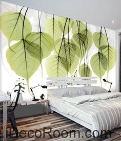 Beautiful dream fresh green transparent small round leaves overlapping wall art wall decor mural wallpaper wall Wallpaper for the wall design and ideas Wallpaper for the wall design and ideas