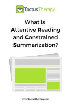 A step-by-step guide to attentive reading & constrained summarization to improve discourse in aphasia, with variations for writing (ARCS-W) & memory (RASR). Aphasia Therapy, Speech Therapy, Speech Language Pathology, Speech And Language, Group Activities For Adults, Stroke Recovery, Nouns And Verbs, Paragraph Writing, Traumatic Brain Injury