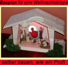 Weihnachtskrippe Als Weihnachtsdeko Selbst Gemacht Beziehungsweise Ein Haus  Oder Modellhaus Aus Holz Mittels Trenn Biber