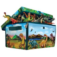 It's been purchased: ZipBin Dinosaur Toy Box bursting with dinos.