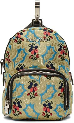 87280acfac78 Miu Miu Multicolor Tapestry Chain Backpack Mini Backpack