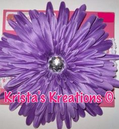 "#1202: XXL Purple Spider Daisy; Crystal Rhinestone; 2.75"" White Headband https://www.facebook.com/KristasKreationsEtc"
