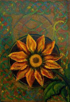 "Alejandro Vizcarra ""Ornamento flor"" Oleo/tabla 30 cm x 20 cm aprox."