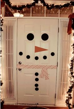 Use these adorable decals to make your door a wonderful part of your holiday decor.  Kit comes with eyes, nose, mouth and buttons.  No worries about mess.  Vinyl will wipe off easily and can be removed after the holiday.  Sized for standard doors (as shown)