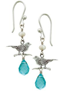 Blue Sky Bird Earrings