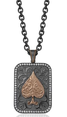 Daniel Bass Ace of Spades dog tag in silver, palladium, and 14k rose gold with 2.02 cts. t.w. diamonds, $7,190