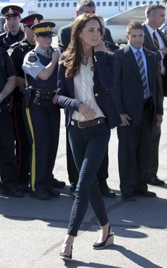 j brand jeans, white ruffled blouse, navy Smythe based, pies a terre wedges, royal tour canada 2011