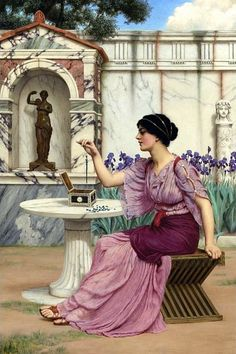 The Athenaeum - Threading Beads (John William Godward - )