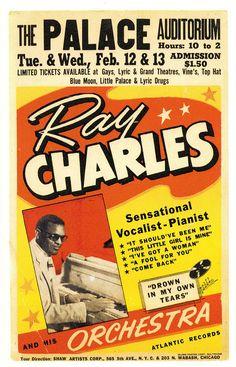 Ray Charles Nostalgic Music x Concert Poster 1950s Posters, Vintage Concert Posters, Vintage Posters, Rock Posters, Band Posters, History Posters, Event Posters, Jazz Poster, Poster Art
