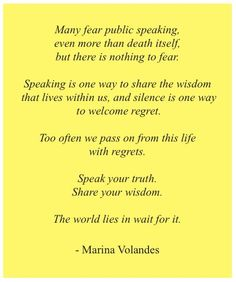 Quote about the fear of public speaking by Marina Volandes ...