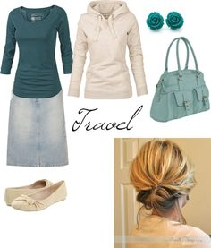 """Travel"" by createdfeminine on Polyvore  Don't think I would travel in a skirt, or have a purse but otherwise, it's pretty cute."