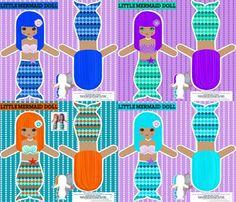 Mermaids dollies - on Spoonflower.com. YES!!
