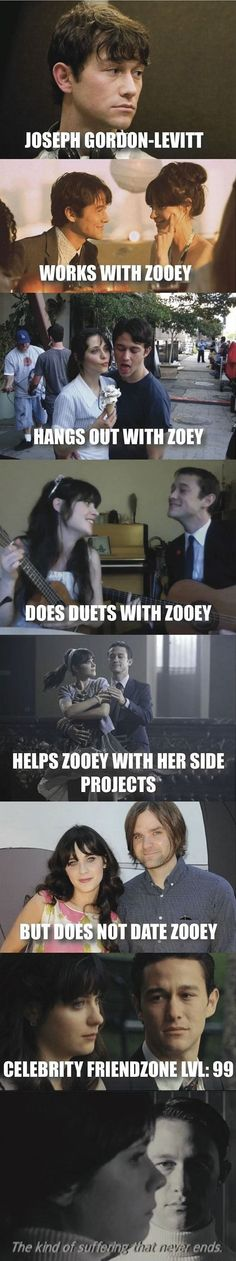 Joseph Gordon-Levitt and Zooey Deschanel Haha that's funny.