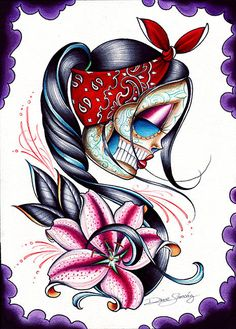 stargazer by dave sanchez rockabilly sugar skull tattoo canvas giclee art print death-mask dia-de-los-muertos day-of-the-dead tattoo-flash alternative-artwork Kunst Tattoos, Neue Tattoos, Body Art Tattoos, Sleeve Tattoos, Tatoos, Hand Tattoos, Graffiti Tattoo, Stretched Canvas Prints, Canvas Art Prints