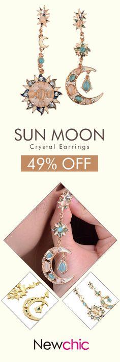 Star Sun Moon Rhinestone Crystal Earrings