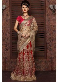 beige net couleur pallu avec une jupe de travail georgette avec le travail saree, - 316,00 €, #Sariindienpascher #Robeindienne #Sariindien #Shopkund