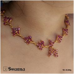 Flowery open ruby setting necklace - do let us know for more details - GSJPL Ruby Necklace Designs, Gold Ring Designs, Gold Bangles Design, Gold Jewellery Design, Gold Necklace Simple, Gold Jewelry Simple, Gold Ruby Necklace, Ruby Jewelry, Choker