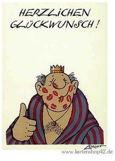 HERZ KÖNIG -Loriot- Postkarte Glückwunschkarte