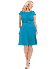 Spense Plus Size Dress, Cap-Sleeve Belted A-Line - Plus Size Dresses - Plus Sizes - Macys