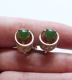 Antique 12K Gold Filled & Jade Sorrento Signed Clip Filigree Earrings by paststore on Etsy