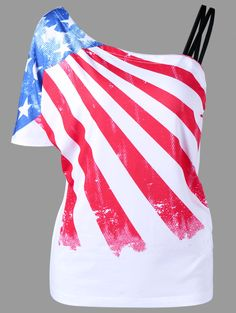 $11.99 Skew Collar American Flag T-Shirt - White