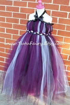 Eggplant Tutu Dress Braided Sash Matching Hair Bow by TutuFairy, $48.00