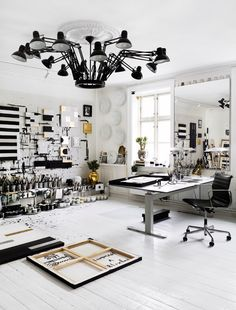 STUDIO LIGHT - This awesome chandelier is in the studio of Tenka Gammelgaard. via acupofalison. Photo by Idha Lindhag.