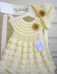 Baby Dress Crochet, Flower Girl Outfit, Crochet Dress for Girls, Baby Crochet Hat, Baptism Dress, Christening Outfit, Champagne Dress