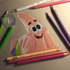 I present to you Patrick Star! Prismacolor premieres and Faber Castell Polychromos on Strathmore toned tan paper.