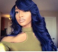 Slowly dating my exercise Weave Hairstyles, Pretty Hairstyles, Blue Hairstyles, Midnight Blue Hair, Curly Hair Styles, Natural Hair Styles, Beautiful Hair Color, Coloured Hair, Hair Laid