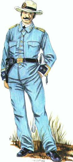 This is the uniform of a comandante (major) in the Talavera Light battalion. This unit fought at San Juan Hill. Spanish War, The Spanish American War, How To Speak Spanish, American History, Military Art, Military History, Military Uniforms, Banana Wars, Cuba