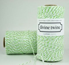"A pretty apple green bakers twine. This Eco-luxe bakers twine with green and white stripes is great for wedding decorations, gift wrapping, crafts projects, wedding favors, and product packaging. 240 yards per spool. 100% Cotton. 4-ply. Made in USA. Bio-degradable. Wound on cardboard tube. Spool dimensions are 2"" diameter by 4"" tall. $15.00"