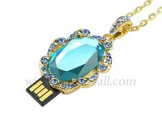 Incognito USB  24 karat gold and jewelled necklace