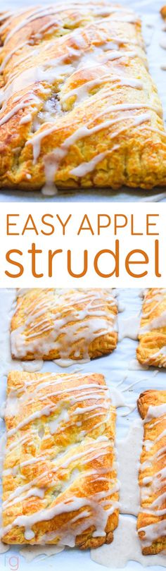 Apple Strudel Recipe with Cinnamon Icing - Easy Dessert or Breakfast Idea that's great for the holidays!