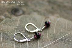 Black Onyx and Amethyst drop earrings sturdy by WoodlandAndMoon