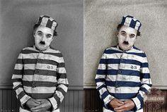 Charles Chaplin no filme Carlitos Presidiário (The Adventurer, 1917) - Colorizando