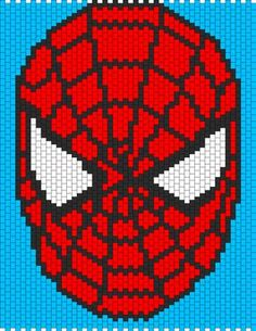 Spiderman Face by XXxemo_angelxXx on Kandi Patterns Pony Bead Patterns, Kandi Patterns, Peyote Patterns, Beading Patterns, Crochet Patterns, Spiderman Blanket, Spiderman Face, Cross Stitch Designs, Cross Stitch Patterns