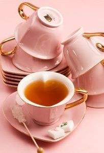 heart tea cups