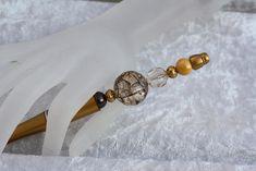 Kugelschreiber - Kugelschreiber gold braun gelb Perlen schreiben  - ein Designerstück von trixies-zauberhafte-Welten bei DaWanda