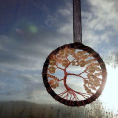 Minilapač - perlový strom dekorace strom ochránce sny do bytu boho strom života lapač lapač snů dream catcher lapač slunce sun catcher