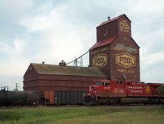 Grain elevator, train - Mortlach, Saskatchewan