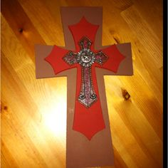Brown & red stacked cross