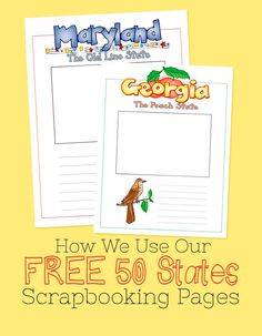 Sure there are notebooking pages, but I was looking for a way to record the personal stuff: their memories, what they learned, and what they liked best. These US Geography scrapbooking pages are the perfect fit! How We Use Our Free 50 State Scrapbooking Pages -- Ed Snapshots