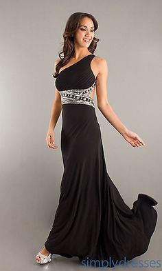 Floor Length One Shoulder Gown with Embellished Waist  at SimplyDresses.com