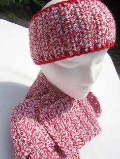 Peppermint Headwarmer and Scarf Set  Red by crochetedbycharlene, $36.00