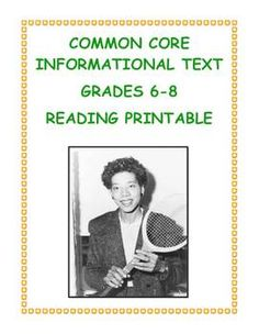 FREE! Celebrate and learn about a legendary African American athlete, Althea Gibson, while practicing CCSS Informational Text skills with your students. Game-set-match!