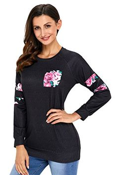ef3533517be445 Sexybody Women s Long Sleeve Floral Sweatshirt Crewneck Fashion Blouse  Pullover Sweatshirts