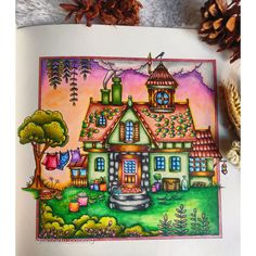 Free Coloring, Adult Coloring, Coloring Books, Johanna Basford Coloring Book, House Drawing, Colouring Techniques, Mandala Drawing, Color Inspiration, Whimsical