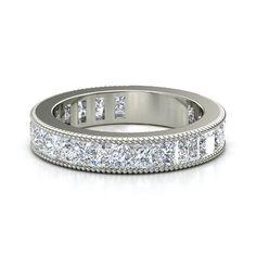 14K White Gold Ring with Diamond   Dria Band (3mm gems)   Gemvara