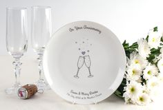 20th Anniversary -  Personalised Bone China Plate with Champagne Glasses